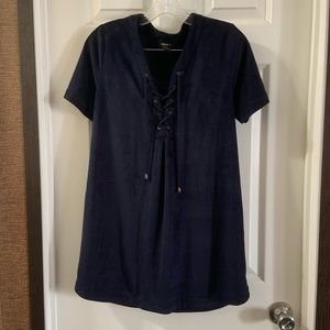 Forever 21 Navy Blue Faux Suede Lace Up Neck Dress